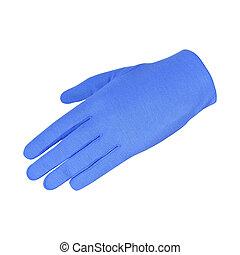 bleu, fond blanc, isolé, gant