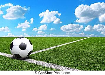 bleu, football, stade, football, champ ciel, fond, herbe