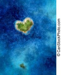 bleu, forme coeur, île, mer profonde