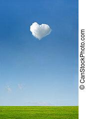 bleu, forme coeur, sur, ciel, blanc vert, herbe, nuage