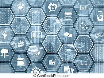 bleu, formes, calculer, brouillé, symboles, fond, hexagone, nuage