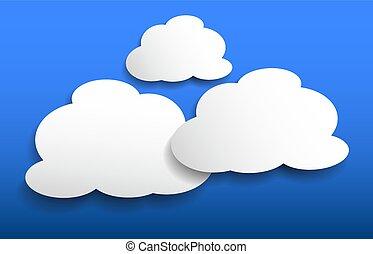 bleu, formes, nuage blanc, fond