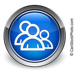 bleu, forum, gens, bouton, lustré, icône