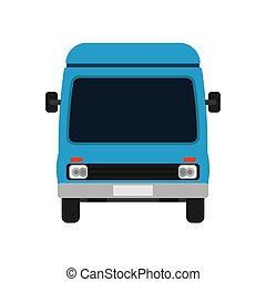 bleu, fourgon, voyage commercial, vue, illustration, dessin animé, livraison, vecteur, voiture., devant, transport, truck., transit, icône