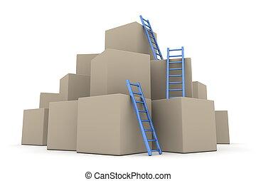 bleu, -, fournée, haut, échelles, boîtes, lustré, montée