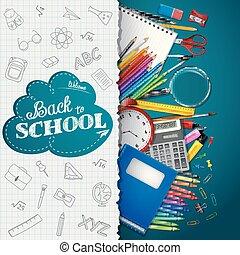 bleu, fournitures, école, papier, fond
