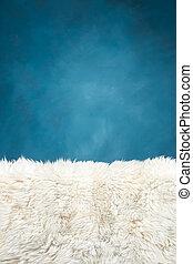 bleu, fourrure, mur peint, blanc, moquette