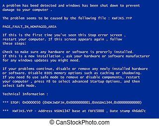 bleu, fracas, écran, système, mort, rapport