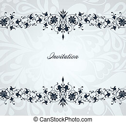 bleu, frame., vendange, vecteur, fond, floral