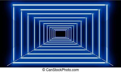 bleu, frames., vecteur, néon