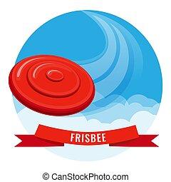 bleu, frisbee, voler, ciel, illustration, vecteur, disque, rouges