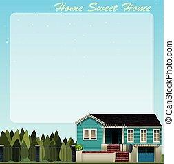 bleu, frontière, conception, maison