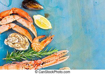 bleu, fruits mer frais, fond