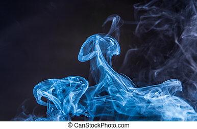 bleu, fumée noire, fond