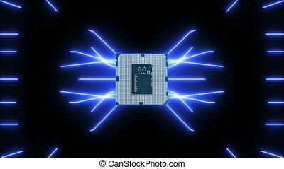 bleu, futuriste, faire boucle, vidéo, planche, circuit, en mouvement, seamlessly, unité centrale traitement, électrons
