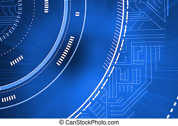 bleu, futuriste, interface