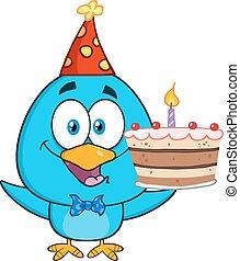 bleu, gâteau, anniversaire, oiseau, tenue