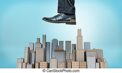 bleu, géant, business, arrière-plan., tours, stomp, groupe, chaussure, prêt, petit, mâle