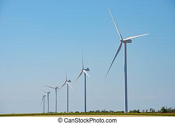 bleu, générateur, ciel, énergie, turbines, vert, vent, bacground., concept., renouvelable