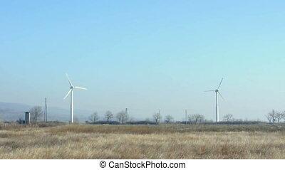 bleu, générateurs, vent, sky.