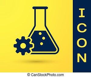 bleu, génétique, molécule, biologie, isolé, jaune, élément, chimique, arrière-plan., vecteur, illustration, bioengineering, icon., icône