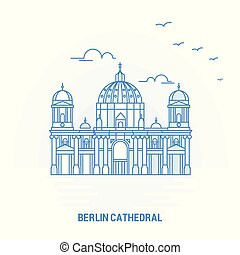 bleu, gabarit, affiche, créatif, berlin, fond, landmark., cathédrale