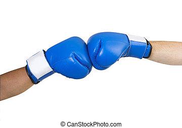 bleu, gants boxe