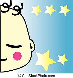 bleu, garçon, étoile, jaune, bébé