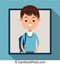 bleu, garçon, étudiant, cadre, tshirt, fond, ombre, point