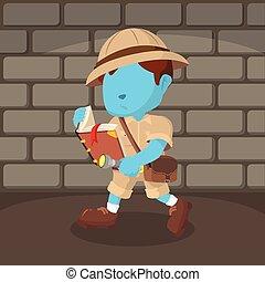 bleu, garçon, ancien, explorateur, livre, lecture