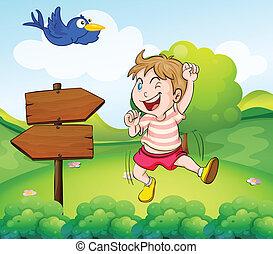 bleu, garçon, bois, à côté de, flèche, oiseau