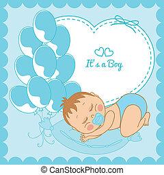 bleu, garçon, cadre, bébé, dormir