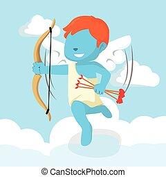 bleu, garçon, cupidon, illustration