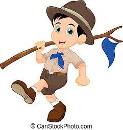 bleu, garçon, drapeau, scout, tenue, dessin animé