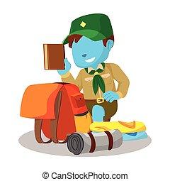 bleu, garçon, emballage, scout