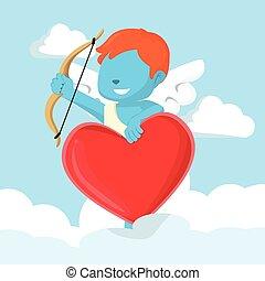 bleu, garçon, forme coeur, cupidon, signe