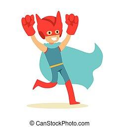 bleu, garçon, géant, superhero, avoir, poings, habillé, caractère, déguisement, feindre, cap, sourire, super, pouvoirs