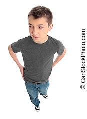 bleu, garçon, jean, gris, t-shirt