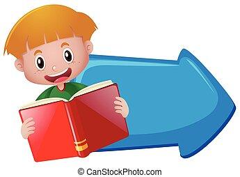 bleu, garçon, livre, lecture, flèche