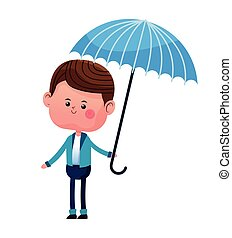 bleu, garçon, parapluie, veste, sourire
