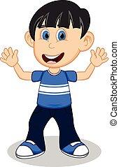 bleu, garçon, peu, chemise
