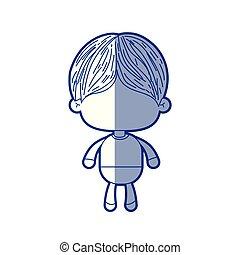 bleu, garçon, peu, court, silhouette, cheveux, ombrager, anonyme