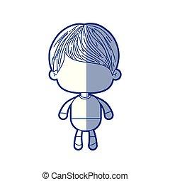 bleu, garçon, peu, court, silhouette, cheveux, ondulé, ombrager, anonyme