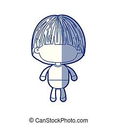 bleu, garçon, peu, silhouette, champignon, coupe, ombrager, anonyme