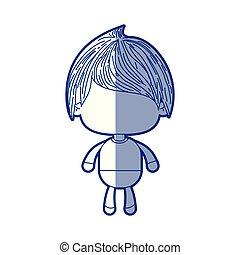 bleu, garçon, peu, silhouette, cheveux droits, ombrager, anonyme