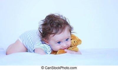 bleu, garçon, peu, teddy, yeux, ours, enfant