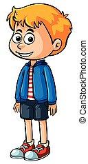bleu, garçon, peu, veste