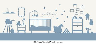 bleu, garçon, silhouette, salle, bébé, intérieur