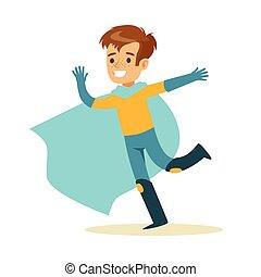 bleu, garçon, superhero, avoir, habillé, caractère, courant, déguisement, feindre, cap, sourire, super, pouvoirs