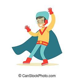 bleu, garçon, superhero, avoir, habillé, fait main, déguisement, feindre, cap, sourire, super, pouvoirs, caractère